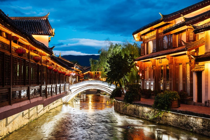 Lijiang at twilight, Yunnan Province, China
