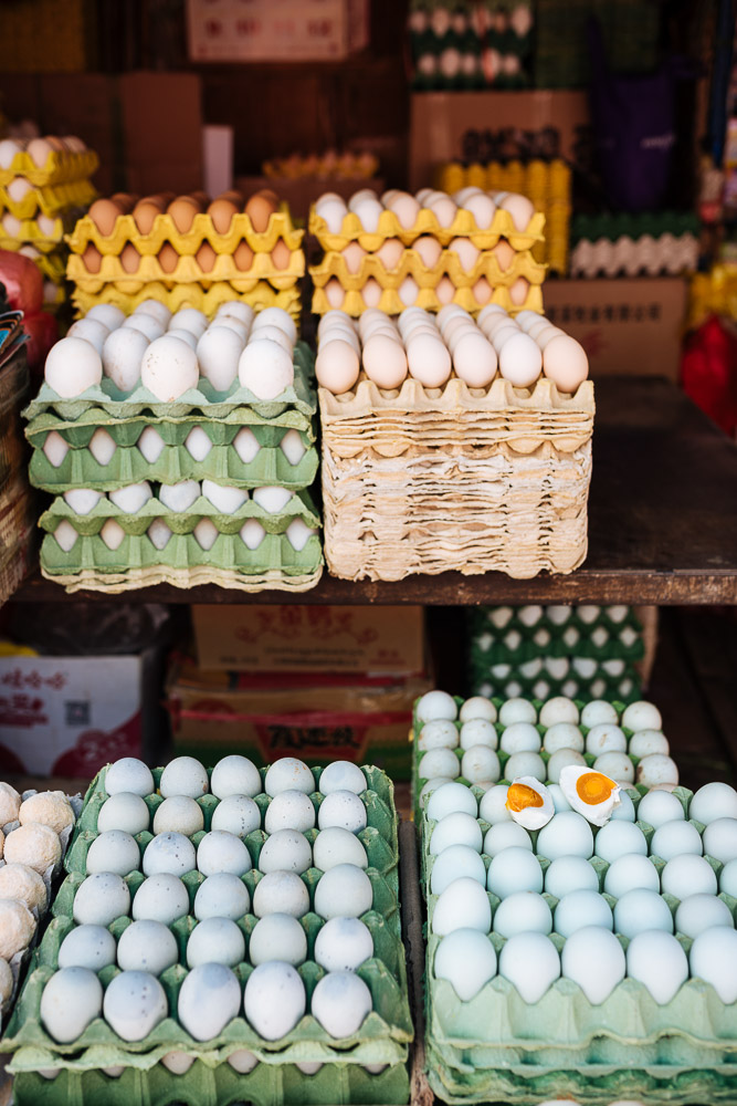 Eggs on display, Zhongyi Market, Lijiang, Yunnan Province, China