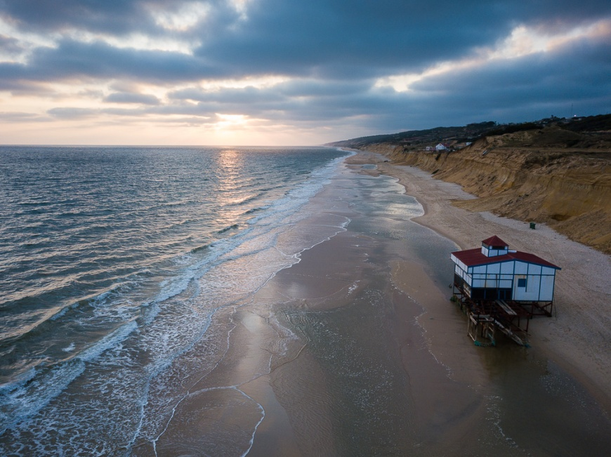 Aerial view of sunset over beach, Matalascanas, Huelva District, Andalucia, Spain