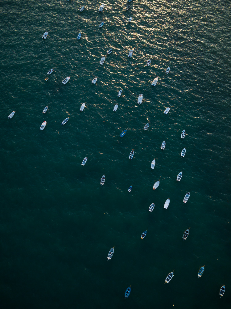 Aerial view of boats at sunset, Cadiz, Andalucia, Spain
