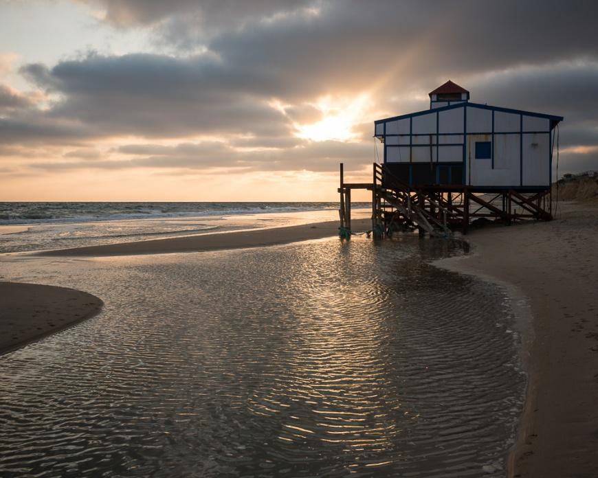 Beach at Matalascanas at sunset, Huelva district, Andalucia, Spain