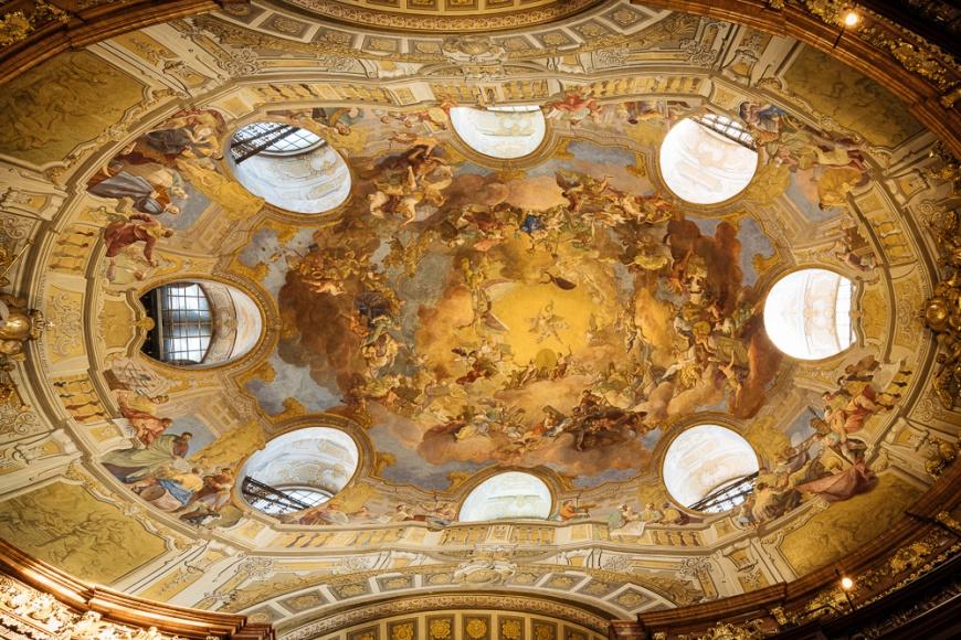 Interior of The Austrian National Library, Vienna, Austria
