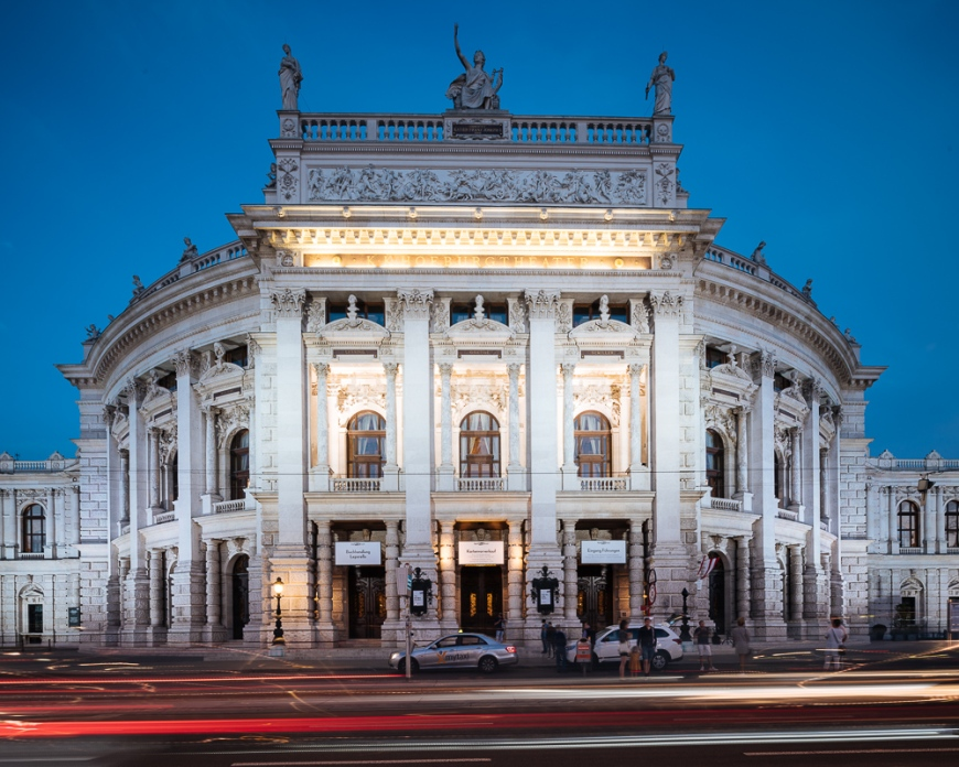 Exterior of The Burgtheater at night, Vienna, Austria