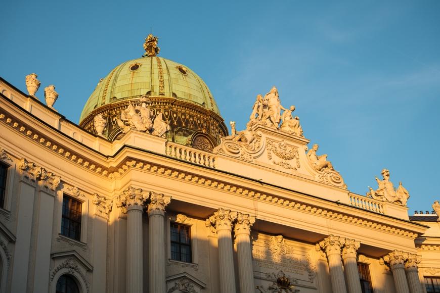 Exterior of The Hofburg Palace at dawn, Michaelerplatz, Vienna, Austria