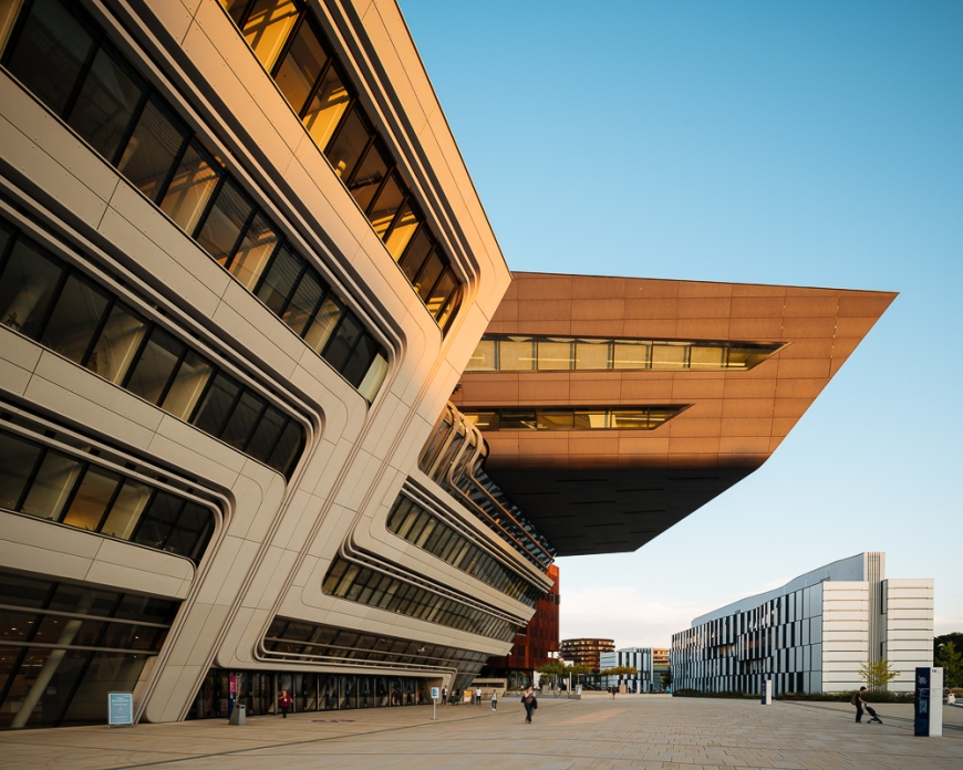 Exterior of Vienna University of Economics and Business Campus designed by Zaha Hadid Architects, Vienna, Austria