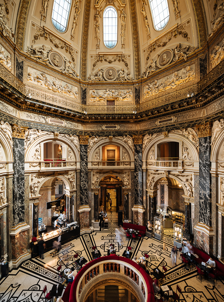 Interior of Kunsthistorisches Museum Wien History of Art Museum - Main Staircase and Antonio Canova´s statue of Thesus Slaying the Centaur, Vienna, Austria