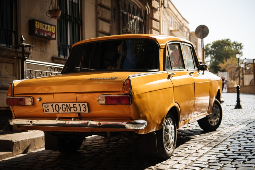 Vintage Russain Car from 1955 parked on cobbled street, Baku, Azerbaijan