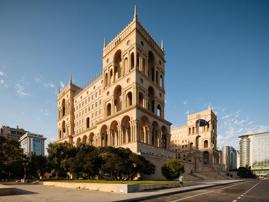 Exterior of House of Government, Freedom Sqaure, Baku, Azerbaijan