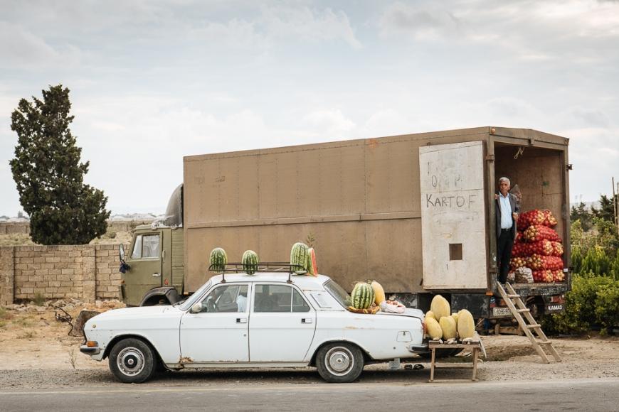 Watermelons being sold from car, Baku, Azerbaijan