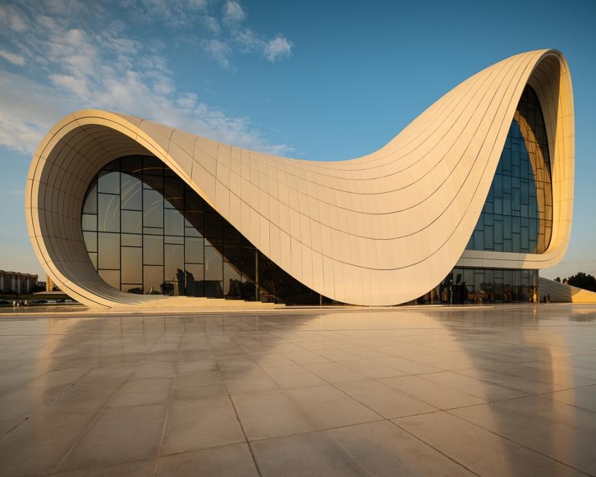 Exterior of Heydar Aliyev Building designed by Zaha Hadid, Baku, Azerbaijan