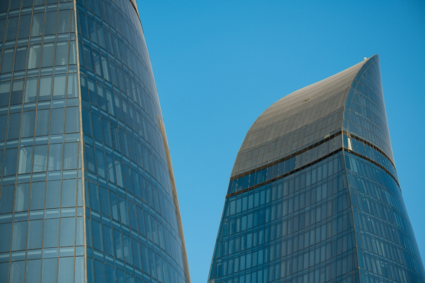 Detail of Flame Towers, Baku, Azerbaijan