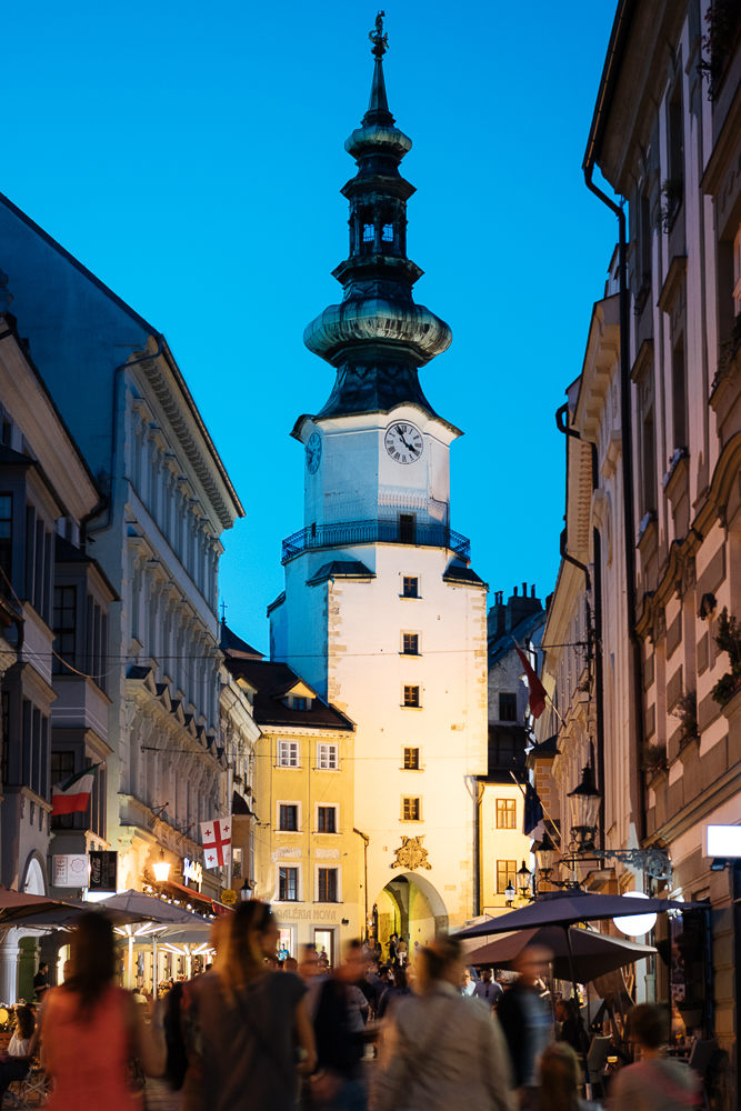 Michalska Street with Michael's Gate in the Evening, Old Town, Bratislava, Slovakia