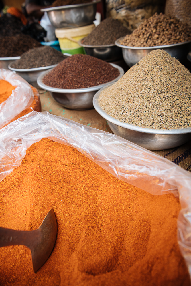 Spices on display in local market, Accra, Ghana, Africa