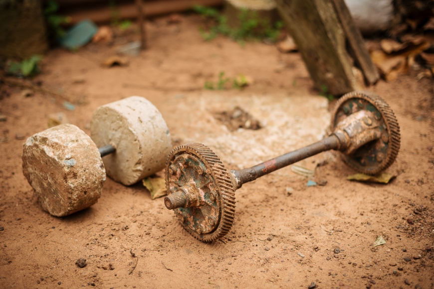 Homemade weightlifting equipment in outdoor gym, Ghana, Africa