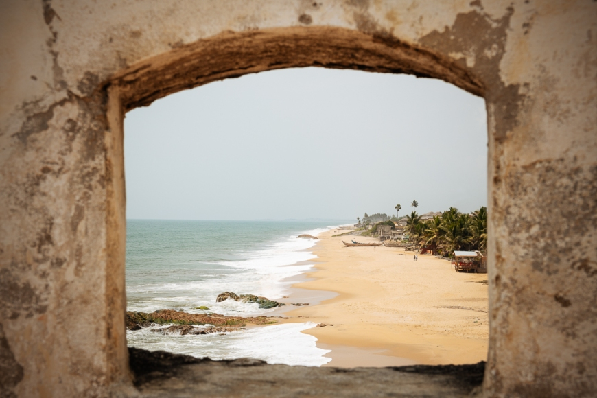 View of Beach from Cape Coast Castle, Cape Coast, Ghana, Africa