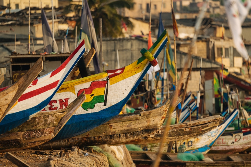 Detail of fishing boats, Cape Coast, Ghana, Africa