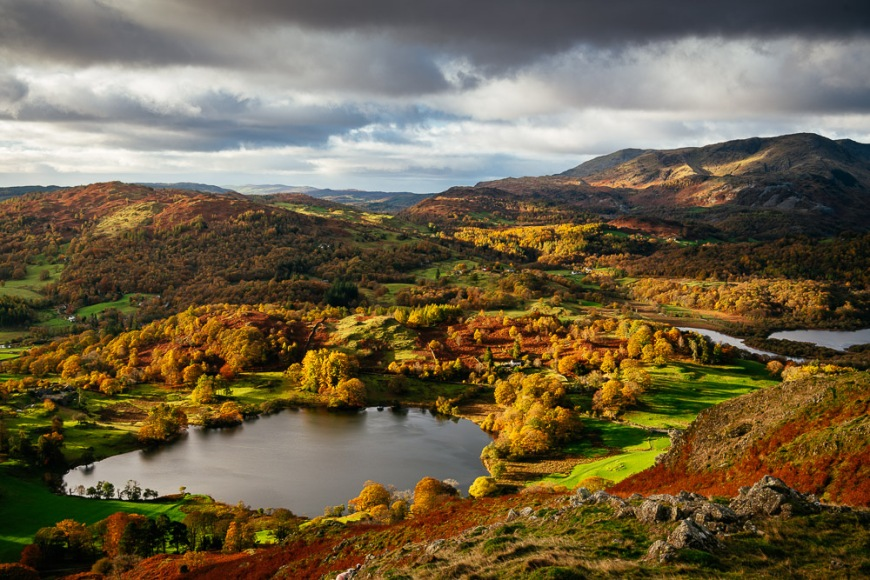 View on Autumn dawn from Loughrigg Fell, Lake District, Cumbria, England, United Kingdom