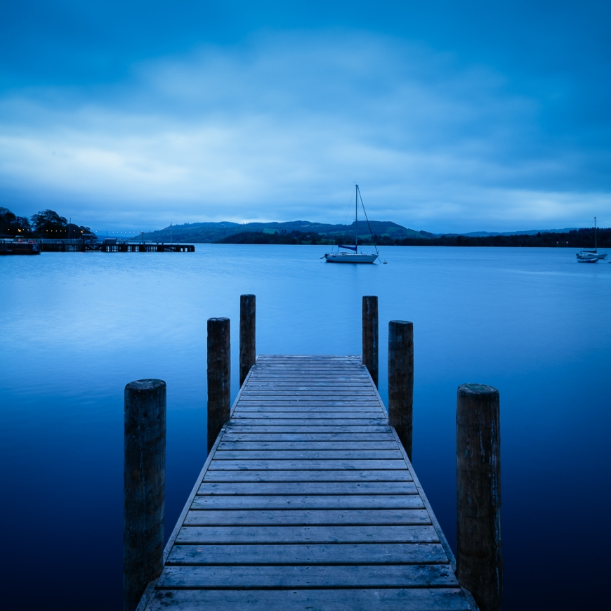 Jetty at dusk, Lake Windermere, Lake District, Cumbria, England, United Kingdom