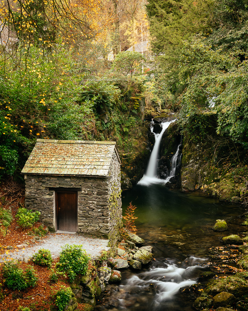 Waterfall at Rydal Mount, Rydal, Lake District, Cumbria, England, United Kingdom