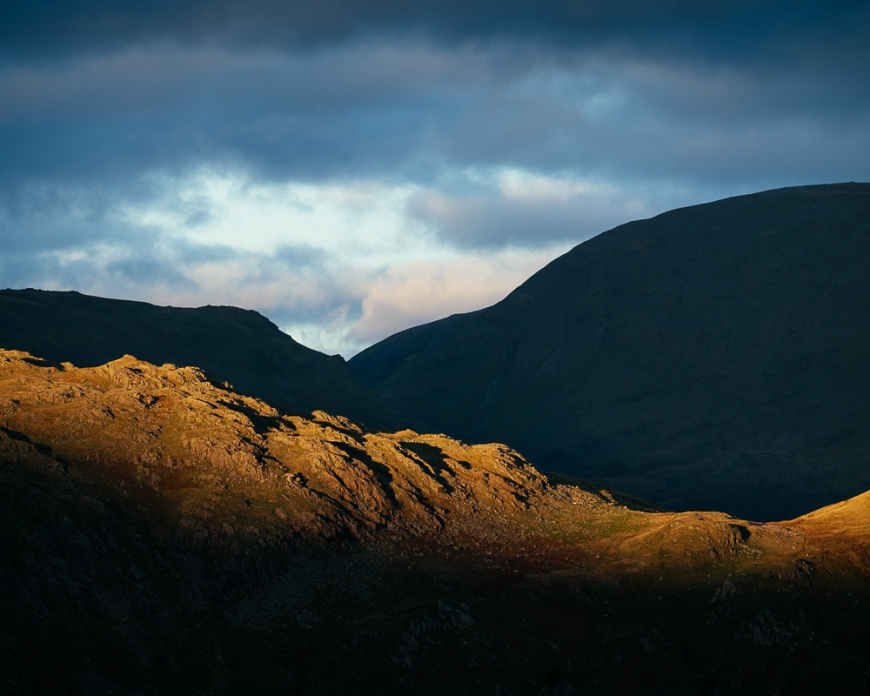 Evening light over fells, Langdale, Lake District, Cumbria, England, United Kingdom