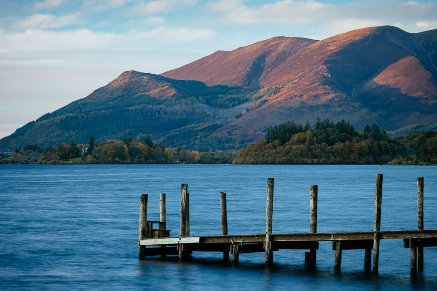 Late evening light on Lake Derwentwater and Ashness Pier, Lake District, Cumbria, England, United Kingdom