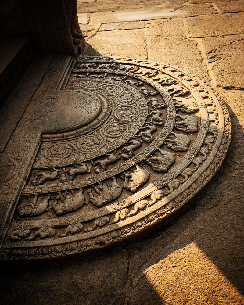 Stone carvings on floor of Vatadage Temple, Polonnaruwa, North Central Province, Sri Lanka, Asia