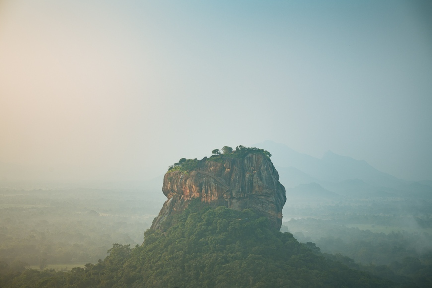 View of Sigiriya from Pidurangula at dawn, Central Province, Sri Lanka, Asia