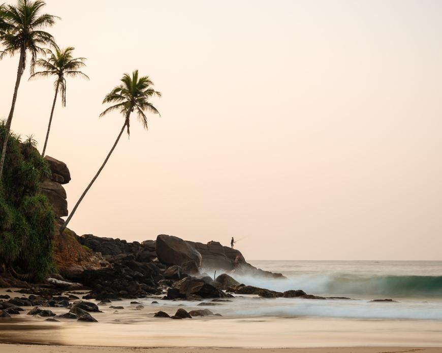 Talalla Beach at dusk, South Coast, Sri Lanka, Asia