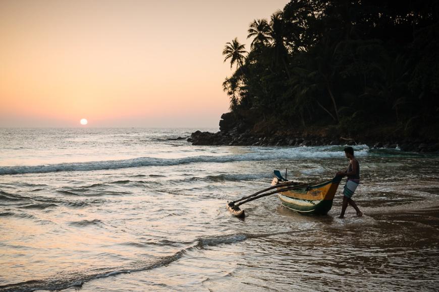 Sunrise at Talalla Beach, South Coast, Sri Lanka, Asia