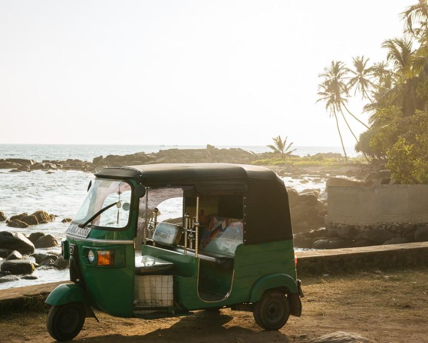 Tuk Tuk parked by beach, Dondra, South Coast, Sri Lanka, Asia