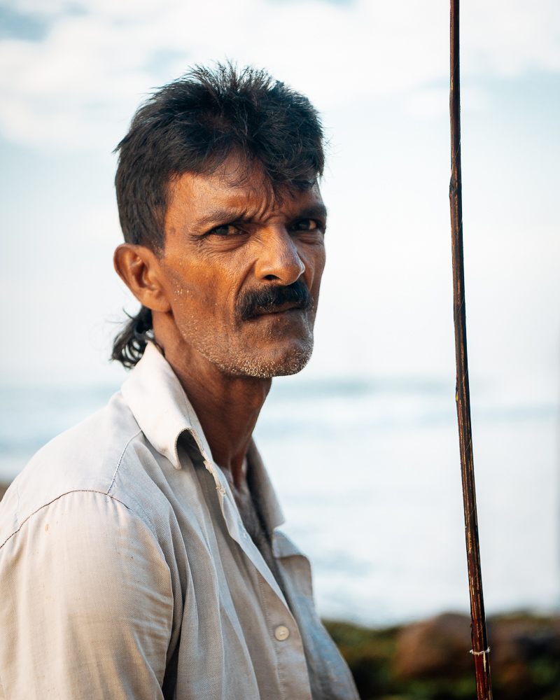 Portrait of Stilt Fisherman, Weligama, South Coast, Sri Lanka, Asia