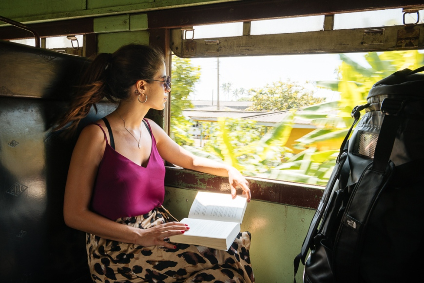 Woman on local train, Galle, South Coast, Sri Lanka, Asia