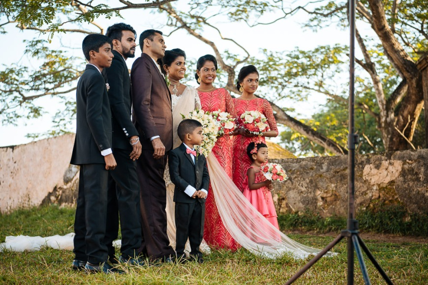 Wedding Party posing for photograph, Galle, South Coast, Sri Lanka, Asia