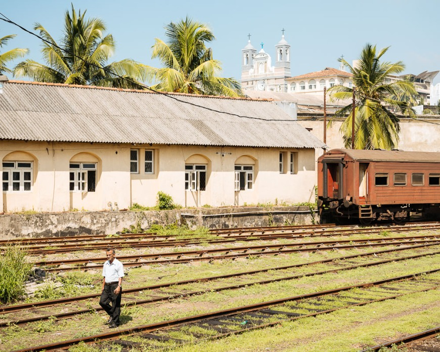 Old Train at Galle Train Station, Galle, South Coast, Sri Lanka, Asia