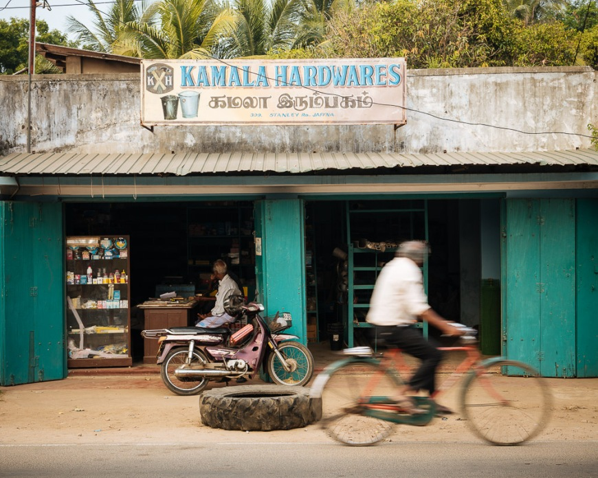 Facade of hardware shop, Jaffna, Northern Province, Sri Lanka, Asia