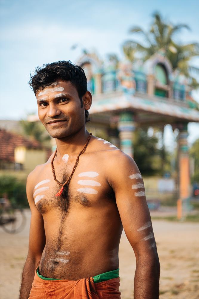 Portrait of priest Chandrakumar at Veeramakali Amman Kovil Temple, Jaffna, Northern Province, Sri Lanka, Asia