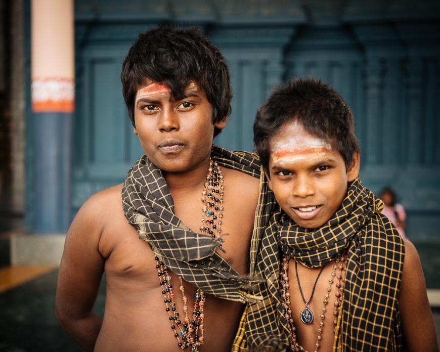 Portrait of two boys, Nainativu Nagapooshani Amman Kovil Temple, Nainativu , Northern Province, Sri Lanka, Asia