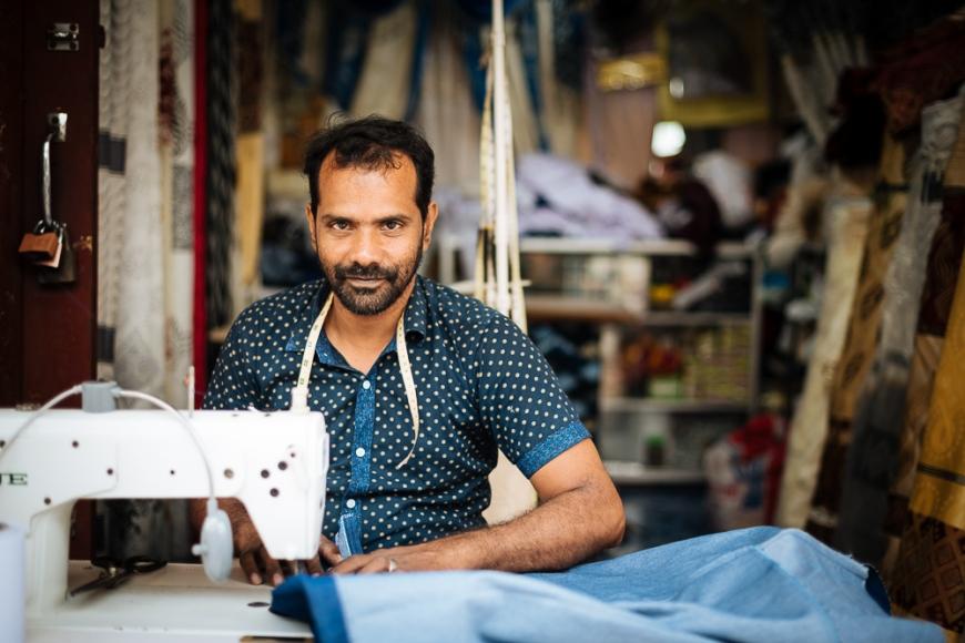 Portrait of Marjanad a Tailor working in Jaffna Market, Jaffna, Northern Province, Sri Lanka, Asia