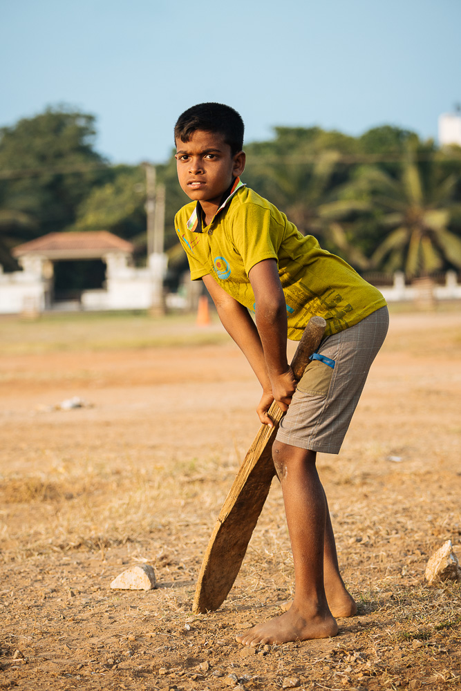 Boys playing cricket, Jaffna, Northern Province, Sri Lanka, Asia
