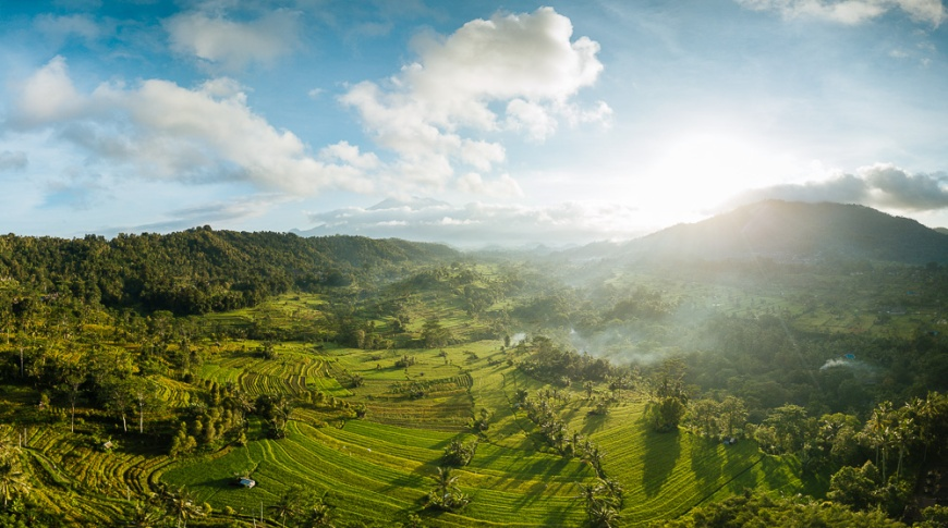 Aerial View of Landscape near Sidemen, Bali, Indonesia