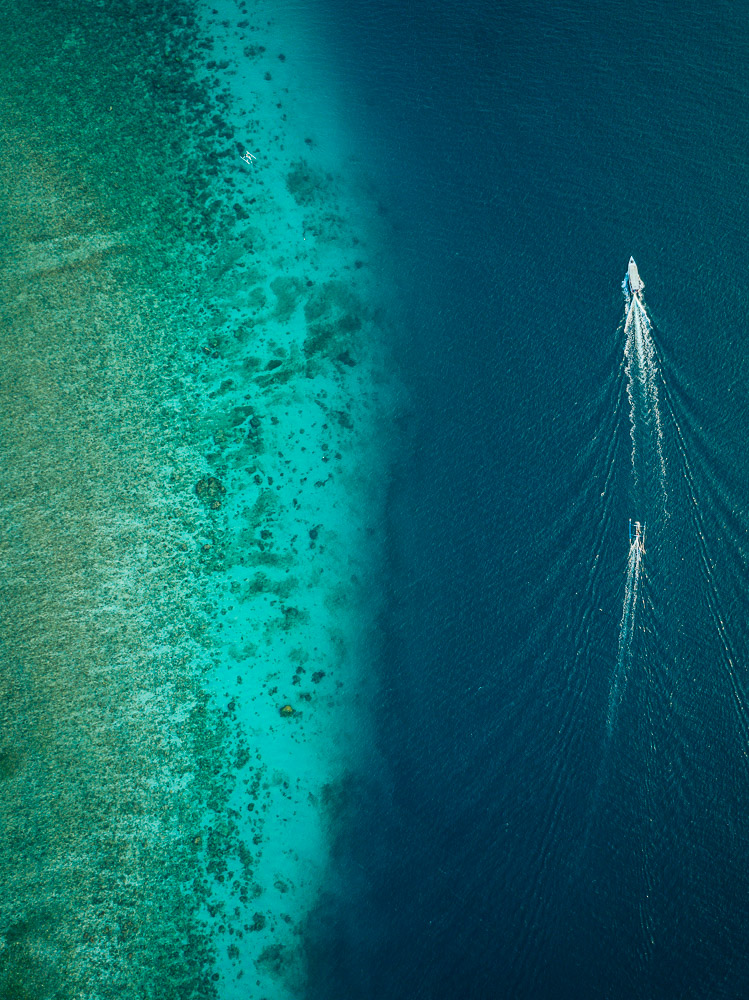 Aerial view of Sea, Gili Air, Gili Islands, Lombok Region, Indonesia