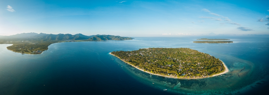 Aerial view of Gili Islands, Lombok Region, Indonesia