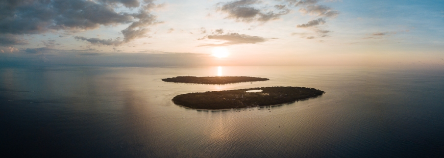 Aerial view of Gili Islands at Sunset, Lombok Region, Indonesia