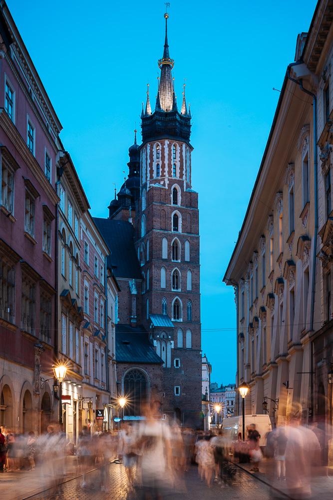 Florianska Street with Church of Saint Mary in background, Krakow, Malopolskie, Poland, Europe