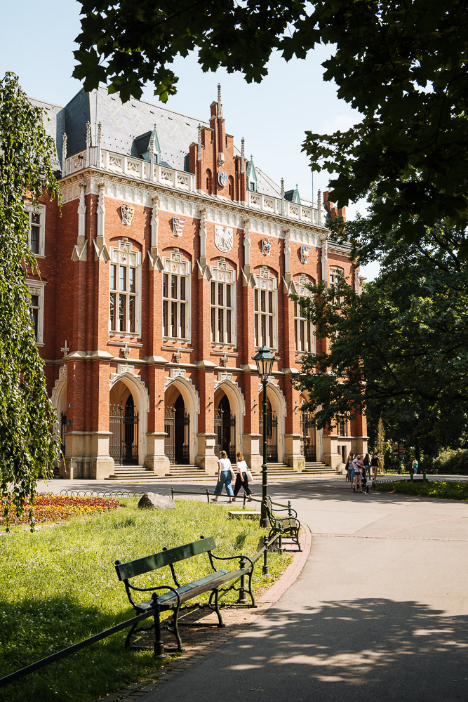 Exterior of New College Building Jagiellonian University, Krakow, Malopolskie, Poland, Europe