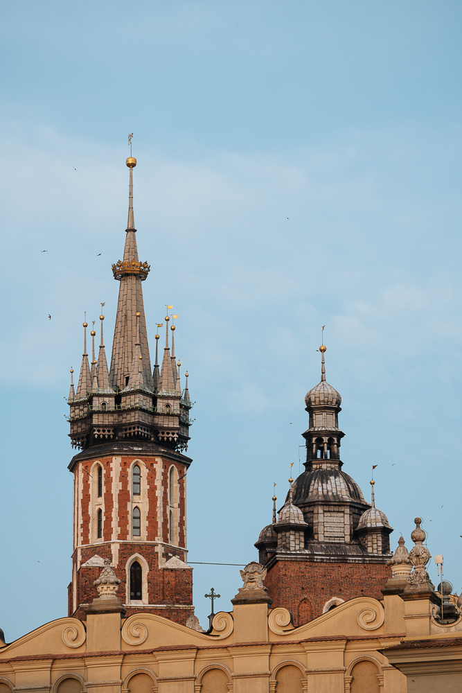 Towers of Saint Mary's Basilica (Bazylika Mariacka), Krakow, Malopolskie, Poland, Europe