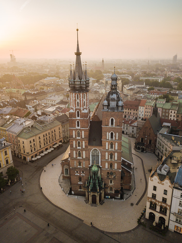 Aerial view of The Church of Saint Mary in Rynek Glowny (Market Square), Krakow, Malopolskie, Poland, Europe
