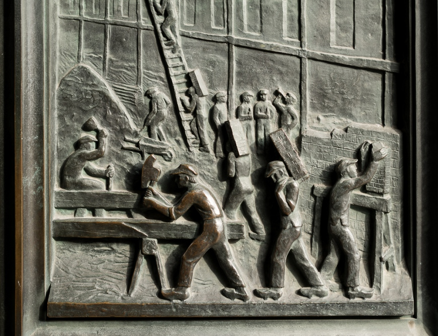 Bronze Door Carving of Workers, Copenhagen, Denmark