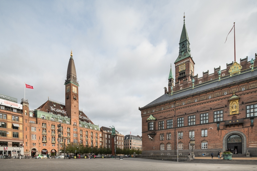 Exterior of Copenhagen City Hall and Scandic Palace Hotel, Copenhagen, Denmark