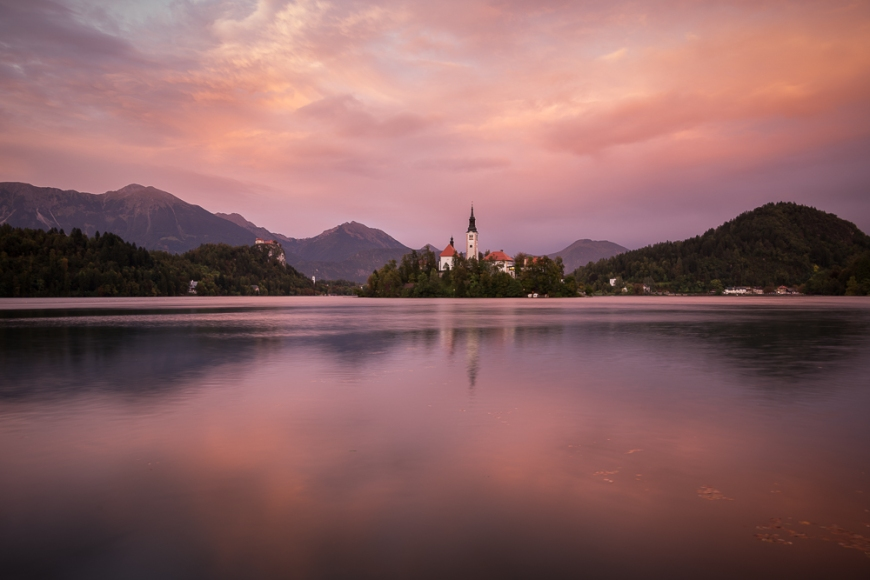 Bled Island with the Church of the Assumption at dusk, Lake Bled, Upper Carniola, Slovenia